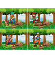 Four lumberjack chopping woods vector image