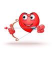 funny cartoon heart shaped character shoots a bow vector image