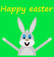 funny easter rabbit on green background vector image