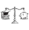 graduation cap books and piggy bank on scales vector image vector image