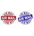 grunge air mail scratched round stamp seals vector image vector image