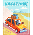 Grunge vacation background with car vector image