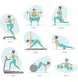 gym activities set woman doing workout vector image