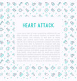 heart attack concept with thin line icons vector image vector image