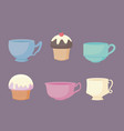 kitchen teacups and cupcakes pastel color vector image vector image