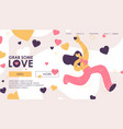 landing page for girl scatters likes and hearts vector image