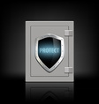 metal safe with a shield vector image vector image