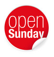 open sunday label sticker vector image vector image