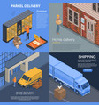 parcel delivery banner set isometric style vector image