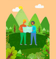 people looking at map finding their way in forest vector image vector image