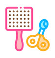pet comb and scissors icon outline vector image