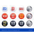 realistic badge sticker icon set vector image