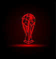 red neon soccer cup on a black background vector image vector image