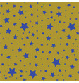 seamless pattern with blue stars on a olive gold vector image vector image