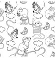 seamless pattern with funny happy hand drawn mice vector image vector image