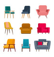 set different armchairs for living room vector image vector image