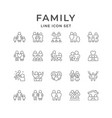 set line icons family vector image