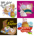 set of easter egg hunt funny bunny with basket vector image vector image