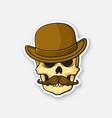skull gentleman with a mustache in bowler hat vector image vector image