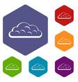 snow cloud icons set hexagon vector image vector image