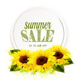 summer sale background with yellow sunflowers vector image