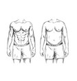 two men bodies fit and fat ink sketch vector image