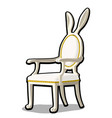 vintage chair with decor in the shape of rabbit vector image