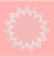 vintage lacy frame on pink background doily vector image