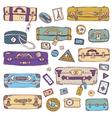 Vintage suitcases set Travel vector image