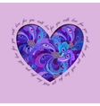 Violet painted peacock feathers heart design Love vector image vector image