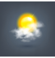 weather sun icon in the cloud vector image vector image