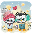 winter penguin boy and girl in hats and coats vector image vector image