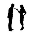 woman holding man by tie silhouette vector image vector image
