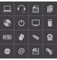 black computer icons set vector image