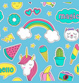 seamless pattern with cute stickers for girl vector image