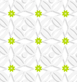 White ornament and green flowers vector image