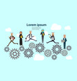 arabic business team work processing cog wheel on vector image vector image