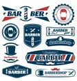 Barber Blue Red Labels vector image vector image