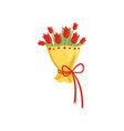 bouquet of tulips in yellow wrap with red ribbon vector image