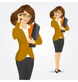 business woman with folders vector image vector image