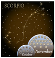 Calendar of the zodiac sign Scorpio vector image vector image