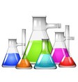 Chemical in different size of beakers vector image vector image