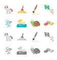 children toy cartoonmonochrome icons in set vector image