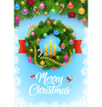 christmas tree wreath with balls and snowflakes vector image vector image