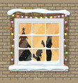 christmas window with tree silhouette vector image vector image