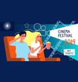 cinema poster film festival concept with happy vector image