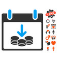coins income calendar day icon with valentine vector image vector image