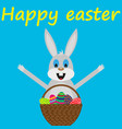 easter bunny with basket eggs vector image
