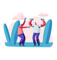 elderly people open air workout with dumbbells vector image