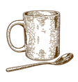 engraving mug and spoon vector image vector image